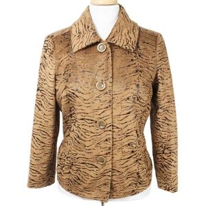 Erin London Brown Plush Animal Print Jacket - Plus